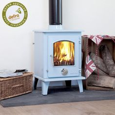 enamel multi-fuel woodburning stove in blue Multi Fuel Stove, Heat Resistant Glass, Stove Fireplace, Oven Glove, Log Burner, Duck Egg Blue, Wood Burning, Keep It Cleaner, Home Appliances