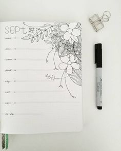 Bullet journal weekly layout, floral drawing, weekly task list. @lotuslettering