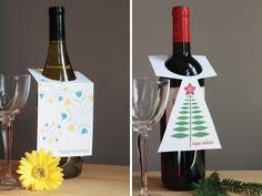 free printable wine tags for Hanukkah (and Christmas too)