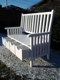 Купить Скамейка в стиле прованс с ящиками - стиль прованс, скамейка со спинкой, скамейка деревянная