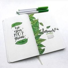 Bullet journal monthly cover page, March cover page, leaf drawings, hand lettering.   @bulletjournalshowcase