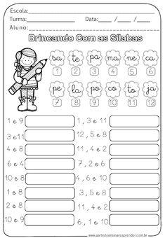 Atividdade Pronta - Brincando com as Sílabas Spanish Lessons For Kids, Learn Portuguese, Kindergarten Math Worksheets, Activities For Kids, Homeschool, Classroom, Teaching, Education, Portuguese Language