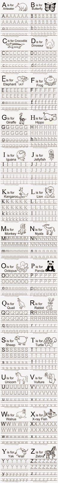 Free Animal Alphabet Traceable Letters More Preschool Letters, Letter Activities, Learning Letters, Preschool Classroom, Preschool Kindergarten, Preschool Worksheets, Preschool Learning, Tracing Letters, Alphabet Letters