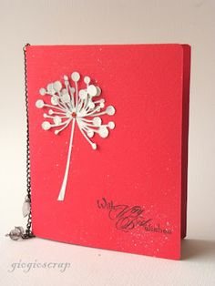 handmade card from The Craft Barn: Memory Box week: Gio's turn ... bright red card with white gessoed book page die cut flower layered on top ... sentiment in black ... clean and simply beautiful!!