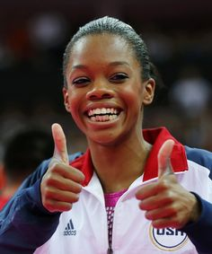 Gold medallist Gabrielle Douglas of the U. gives thumbs up after the women's individual all-around gymnastics final in the North Greenwich Arena at the London 2012 Olympic Games August Gymnastics Posters, Olympic Gymnastics, Olympic Team, Olympic Games, Gymnastics Team, Artistic Gymnastics, Olympic Champion, Nbc Olympics, Summer Olympics