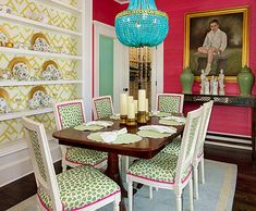 Love this color scheme. Especially the grasscloth on the walls.   Chinoiserie Chic: You Had Me At Hello