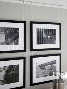 Photo Gallery - convert all images to one tone (b&w or sepia) for a cohesive look. I'm wondering about this line hanging system... do they slide back and forth? Up and down? if they don't ... they should!