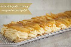Tarta de hojaldre, crema y manzanas caramelizadas | Cocinar en casa es facilisimo.com