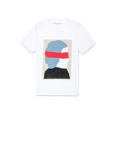 コットンジャージークルーネックTシャツ アーティストEktaプリント メンズ | Marni Online Store