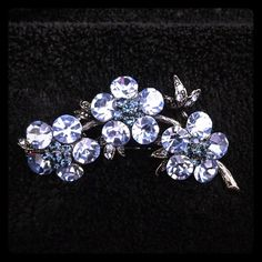 Vintage Blue Rhinestone Brooch by WD Gorgeous vintage, blue rhinestone pin. Excellent condition. Signed by WD. WD Jewelry Brooches