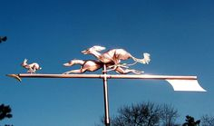 Saluki and Greyhound Chasing a Rabbit Weathervane
