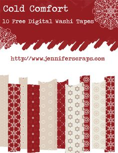 "Cold Comfort – 10 Free Digital Washi Tapes BY: JENNIFER TOUGH on Jennifer Scraps 10  different .png files of washi tapes. Each one features a different pattern from the ""Cold Comfort"" paper set. Download the goodies through google drive. All of the tapes are uploaded individually, feel free to grab one, or them all."