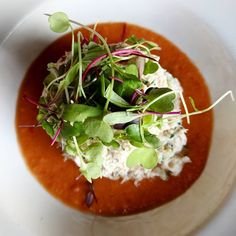 Fresh Maine crab salad red bell pepper celery house made gazpacho micro greens. PERFECT for a warm day like today!  . . . . . #crab #freshcrab #maine #crabsalad #gazpacho #eeeats #flatirononmain #davidsonnc #mooresvillenc #corneliusnc #huntersville #goodfood #foodie #yum #sogood #cltfood #charlottenc #mainstreet #delicious #getinmybelly #charlottefood #eatdrink #restaurantlife #lakenormaneats #lakenorman #clt #lkn #flatironkichenandtaphouse #foodporn #forkyeah