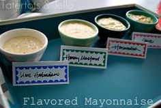 Flavored Mayonnaise; sliders/grilled sandwiches/burgers Cilantro Mayo: 1 c mayo, 1/4 c sour cream, 1 tblsp lime juice, 1/4 c fresh cilantro and a dash of salt, pulse in food processor until the cilantro is broken up and the ingredients have come together.