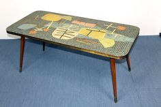 Rare vintage coffee table from the sixties with mosaic tabletop