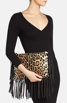 Valentino Animal Print Calf Hair Clutch | Nordstrom