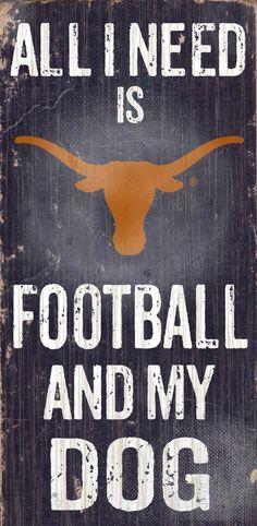 Texas Longhorns Wood Sign - Football and Dog 6x12