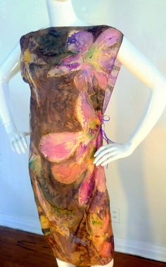 """Tenderness"" Silk Shift - hand painted, one of a kind, timeless and versatile, comfortable and convenient the Violet Luck shift transforms this simple garment with bold, fun and flirtatious designs that are vivid and exotic."