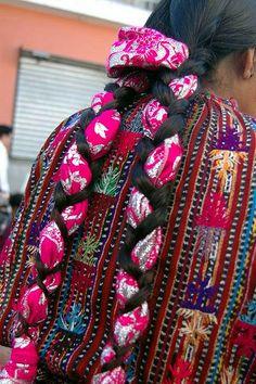 Beautiful Guatemalan hair braids with colorful textil