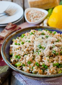 Israeli Couscous with Chicken and Peas - Don't be fooled by the simplicity of this recipe - it packs a ton of flavor!  Super quick to prepare and perfect for a busy weeknight dinner!