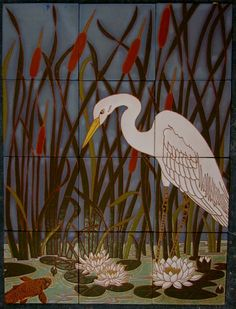 common ground tile mosaic crane lillies koi pottery ceramics clay