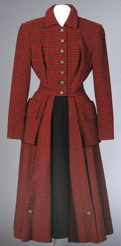 Costume for Elizabeth Taylor, unidentified designer. Conspirator, 1949 40s 50s fashion vintage style princess coat red black dress