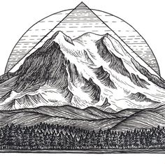 Mountain Art Giclee Print  Mount Rainier by LizzyDaltonArt on Etsy