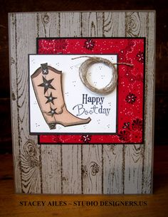 """By Stacey Ailes. Uses stamps from Stampin' Up """"Bootiful Occasions"""" and """"Hardwood."""" Materials list on her website."""