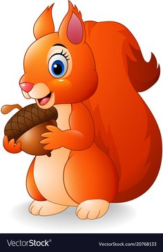 Cartoon funny squirrel holding pine cone vector image on VectorStock Art Drawings For Kids, Cute Animal Drawings, Cartoon Drawings, Easy Drawings, Art For Kids, Baby Animals, Cute Animals, Wild Animals, Squirrel Illustration