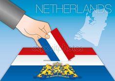 Paesi Bassi, elezioni, urne con le bandierine — Vettoriali Stock © frizio #131052668