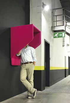 BuzziHood Phone Booth is an acoustic space for making private phone calls in the office. BuzziHood Wall Booth blocks unwanted noise via acoustic properties. Office Interior Design, Office Interiors, Bureau Design, Office Pods, Telephone Booth, Workplace Design, Contemporary Office, Co Working, Library Design