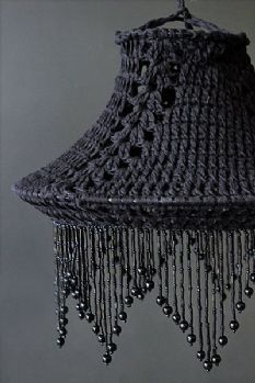 Black Crochet Cotton Lampshade