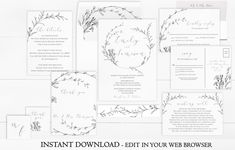 A Black Floral Wreath Wedding Invitation Set. For those who love a minimal and modern look, this invitation set is perfect!This Wedding Invitation Set is part of the Whisper collection.  Don't wait for your first proof! Instantly download and personalize this Floral Wreath Wedding Invitation Set right in your web browser. No software necessary!  Please note: The