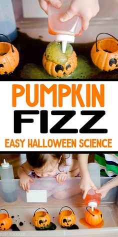 Pumpkin Fizz: Halloween Science Activity - Toddlers and preschoolers will love his easy Halloween activity! easy indoor activity halloween activities for toddlers, halloween activities kindergarten, fun halloween activities Science Halloween, Halloween Class Party, Halloween Crafts For Kids, Halloween Snacks, Easy Halloween, Toddler Halloween Crafts, Halloween Horror, Halloween Themes, Science Activities For Toddlers
