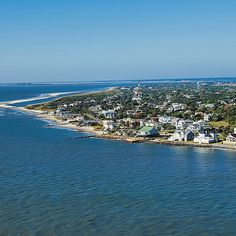 Aerial shot of Sullivan's Island in Charleston, South Carolina. Charleston South Carolina, Carolina Beach, Charleston Sc, Sullivans Island Sc, Summer Memories, Family Memories, Isle Of Palms, Picture Postcards, Exotic Places