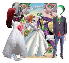 """""""Harley and Joker- Wedding Day"""" by batgirl-at-the-walking-dead3 ❤ liked on Polyvore featuring Hot Topic, Vera Wang, Miss Selfridge, Reception, Gianvito Rossi, Lime Crime, AT.P.CO, Under Armour, Gloves International and Etro"""