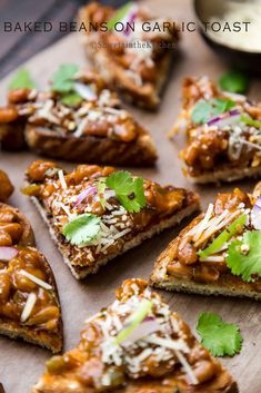 Baked Beans on Garlic Toast -  Crunchy garlicky base of bread topped with soft mushy beans, hard cheese and crunchy onions and bell pepper makes this recipe irresistible.  #ElevateYourPlate