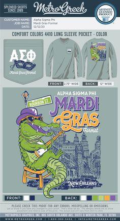 Mardi Gras | Formal Shirt | Metro Greek | Alpha Sigma Phi Shirts | New Orleans Fraternity Shirts #mardigras #fraternity #metrogreek #alligator #nola #formal Fraternity Rush Shirts, Sorority And Fraternity, Sorority Shirts, Sorority Formal, Formal Shirts, Comfort Colors, Mardi Gras, Shirt Ideas, New Orleans