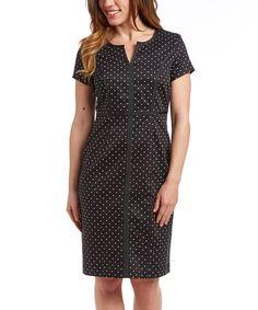 Look what I found on #zulily! Eden Court Black Pin Dot Sheath Dress by Eden Court #zulilyfinds