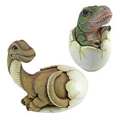 Baby Dinosaur Egg Hatchling Statues (Set of The mighty T. Rex dinosaur hatchling emerges from his oversized egg with tiny teeth ready to tear up the modern world, while our baby Brachiosaurus is practically dino-sized at birth at over 10 inches long! Dinosaur Garden, Dinosaur Eggs, Baby Dinosaurs, Dinosaur Art, Dinosaur Stuffed Animal, Dinosaur Fight, Dinosaur Projects, Dinosaur Crafts, Jurrassic Park