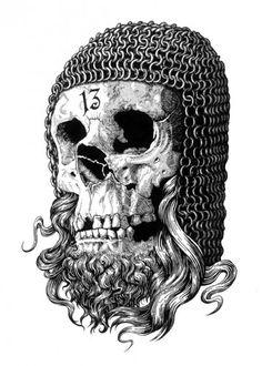 Templar Skull by Matthew Sergison-Main Templer, Tatoo Art, Knights Templar, Skull Tattoos, Skull And Bones, Skull Art, Occult, Dark Art, Fantasy Art