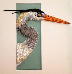 Eleanor Pigman: The Heron - beaded embroidery