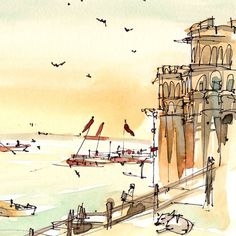 India, Varanasi, Afternoon Light on the River, watercolor sketch in warm tones archival print from a watercolor sketch