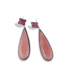 Quatrefoil Drop Earrings with Guava Quartz, Ruby and White Gold