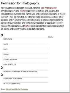 Free Legal Contracts And Releases For Photographers