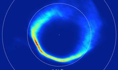 This image of the debris disk around SDSS1228+1040 made from observations taken over twelve years. The application of Doppler Tomography results in an image of the velocities within the disk, which has an 'inside-out' structure, gas closer to the white dwarf appears further. The two dashed circles illustrated 0.64 and 0.2 times the radius of the Sun. Credit: University of Warwick