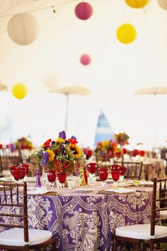 Love these colorful centerpieces!