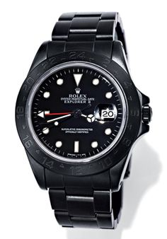 Watch collectors are kind of obsessive. Case in point: Alejandro Alcocer, a fashion designer and caterer, heard a few years back that Rolex once made 500 all-black watches for British soldiers stationed in South Africa in the '60s. When he couldn't find one, he hatched a new plan and collected 350 vintage Rolexes—fifty each of seven styles, including this Explorer II—and turned them black himself. They're punk meets past, and when they're gone, they're gone.