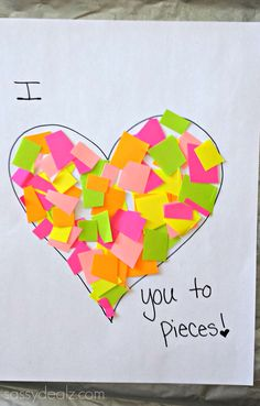 """""""I Love You to Pieces"""" Heart Craft For Kids {Valentine Card Idea} #Valentine art project #Kids card #DIY   CraftyMorning.com"""