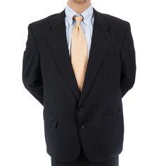 Vtg Elkridge Pinstripe 2 Pc Suit Mens Black Classic Blazer Jacket Pants 2 Button #Elkridge #MensSuit #SomeLikeItUsed